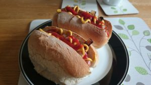 Hot Dogs On A Plate